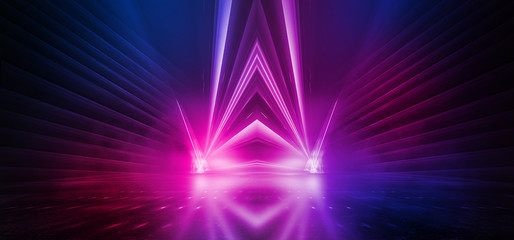 Fotomurales - Dark background with lines and spotlights, neon light, night view. Abstract pink background.