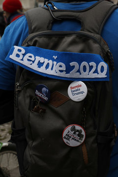 "Pins are pictured on the backpack of an activist of ""Democrats Abroad"" and supporter of Democratic U.S. presidential candidate Senator Bernie Sanders promoting the vote for U.S. citizens abroad, in Berlin"