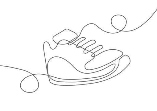 Sports shoes in a line style. Sneakers Vector . Sketch sneakers for your creativity.Shoe advertising .