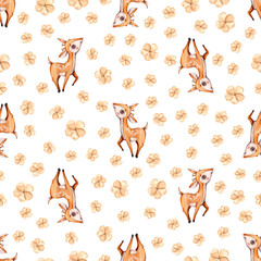 Watercolor cute nursery naive hand painted seamless pattern with deer forest woodland animal. Childish Handpainted print on white background Watercolour Kids Art fabric wallpaper baby shower invite.