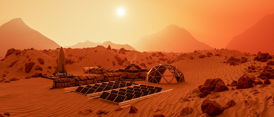 Tuinposter Rood traf. an outpost on the red planet mars (3d rendering)