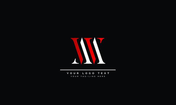 MW ,WM ,M ,W  Letter Logo Design with Creative Modern Trendy Typography