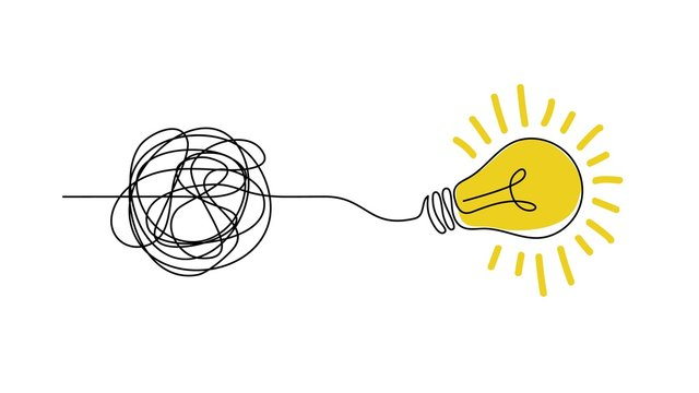 Idea doodle concept. Confuse to simplicity concept with messy hand drawn lines and light bulb. Vector clarity and thought process illustration for tangled way solution