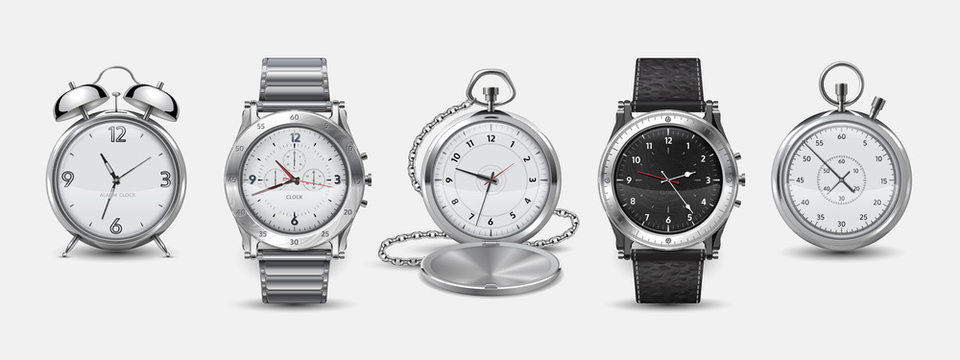 Realistic watches. 3D square and round wall clock, wrist watches, alarm and chronometer with metallic and plastic bezels and dials. Vector set hour pointer for wall or hand