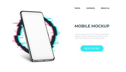 Realistic smartphone mockup. Smartphone frame with blank screen. Vector illustration realistic phone mock up on access web page