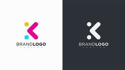 Abstract Letter K Logo Rounded Line with Dots. Flat Vector Logo Design Template Element.