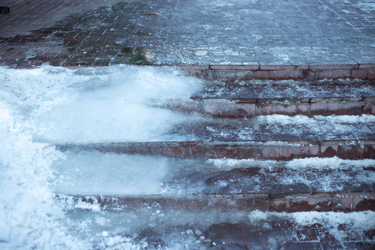 slippery ice steps at the entrance