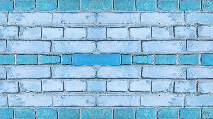 Blue damaged rustic brick wall texture background, colorful trend color