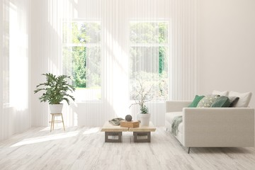 Minimalist living room in white color with sofa and summer landscape in window. Scandinavian interior design. 3D illustration