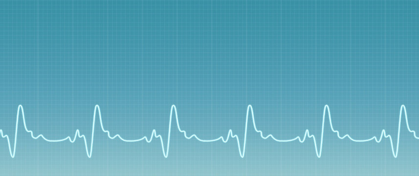 Blue background with ecg line. Illustration of the ecg waves activity. Medical web sites with copy space. Health care banner.