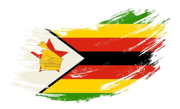 Zimbabwean flag grunge brush background. Vector illustration.