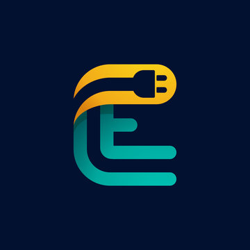 E letter logo with plug cable inside.