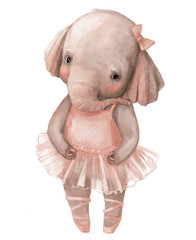cute little elephant girl with ballerina's dress