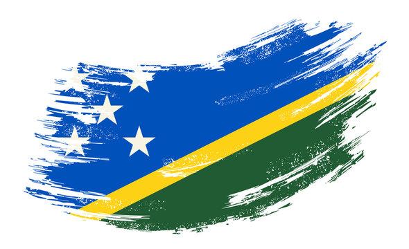 Solomon Islands flag grunge brush background. Vector illustration.