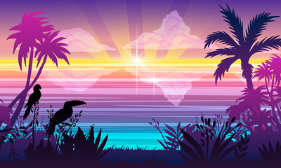 Fond de hotte en verre imprimé Prune Horizontal ocean landscape with tropical plants, trees, toucan and parrot outlines, clouds, water, rays, flare, water reflections. Summer paradise view with seashore in trendy blue and violet colors