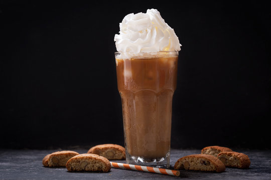 glass of iced coffee with whipped cream