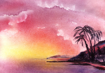 Keuken foto achterwand Candy roze Romantic watercolor summer tropical landscape Gradient background from Violet pink to yellow Vanilla sky clouds. Exotic Islands palm trees on shore. Idyllic sunset or sunrise Hand drawn illustration