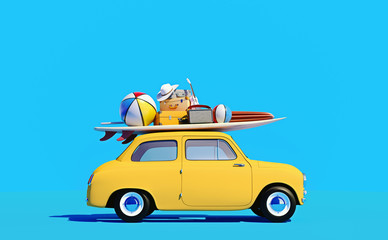 Poster Cartoon cars Small retro car with baggage, luggage and beach equipment on the roof, fully packed, ready for summer vacation, cartoon concept of a road trip, blue background and bright yellow car