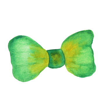 Green bow. Bow tie illustration. Watercolor hand-drawn painting on a white background isolated. Decorative element for fashion design and for St. Patrick's Day