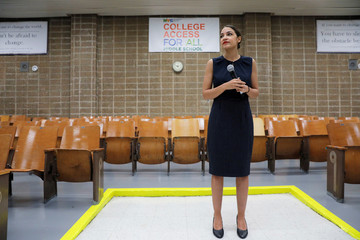 U.S. Rep. Alexandria Ocasio-Cortez (D-NY) speaks to media before participating in a Census Town Hall at the Louis Armstrong Middle School in Queens, New York City,