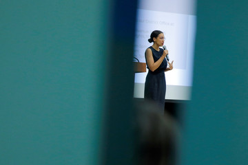 U.S. Rep. Alexandria Ocasio-Cortez (D-NY) participates in a Census Town Hall at the Louis Armstrong Middle School in Queens, New York City