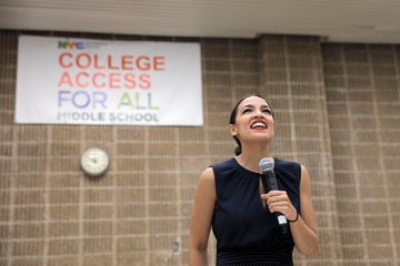 U.S. Rep. Alexandria Ocasio-Cortez (D-NY) speaks to media before participating in a Census Town Hall at the Louis Armstrong Middle School in Queens, New York City