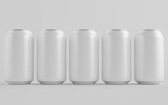 12 oz. / 330ml Aluminium Can Mockup - Multiple Cans. Blank Label.  3D Illustration