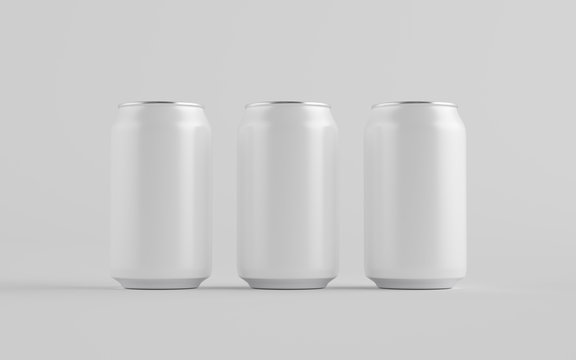 12 oz. / 330ml Aluminium Can Mockup - Three Cans. Blank Label.  3D Illustration