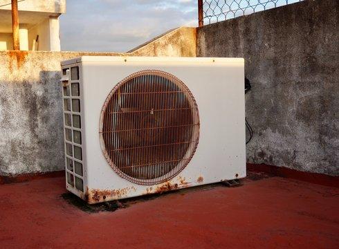 View of a mini split air conditioner condensing unit outdoor