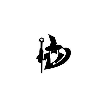 wizard warlock logo black and white vector