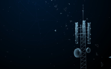 Mast of station of the broadcasting cellular. Telecommunication tower. Lines, triangles and particle style design