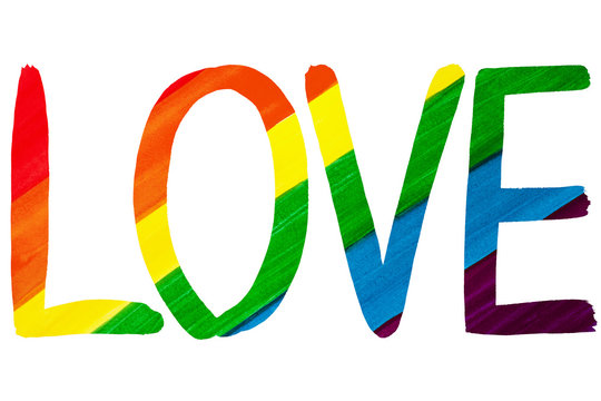 Word LOVE in rainbow colors on white background isolated close up, hand drawn watercolor, handwritten letters LGBT pride flag color, LGBTQ community sign, symbol, gay, lesbian etc art design element
