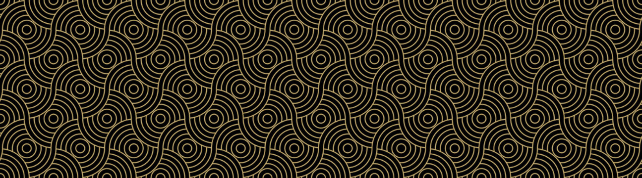 Background pattern seamless circle abstract gold luxury color vector. Black background design.