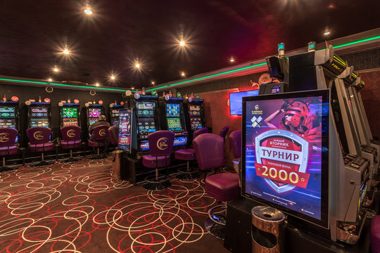LAS VEGAS, USA - MAY, 2017: interior of elite luxury vip casino with rows of gambling slots machine