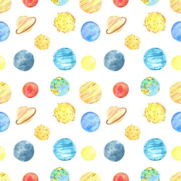 Seamless pattern watercolor solar system and planets, space objects. Background planet, stars, moon, comet.