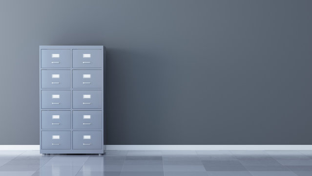File cabinet on the gray wall - 3d rendering