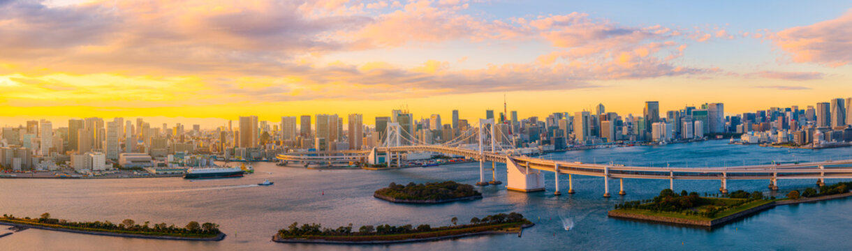 Panoramic Aerial view of Tokyo skylines with Rainbow bridge and tokyo tower over Tokyo bay in daytime from Odaiba in Tokyo city Kanto Japan.