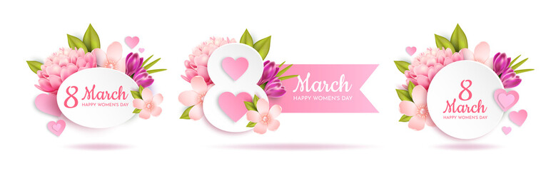 Set of greeting banners for March 8th(International Women's Day).   Wall mural