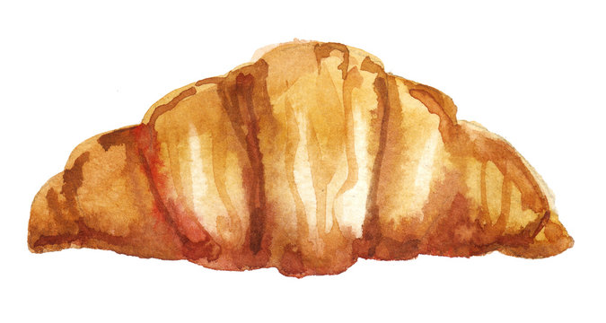Watercolor hand painted breakfast French croissant illustration isolated on white background - cafe and restaurant menu design