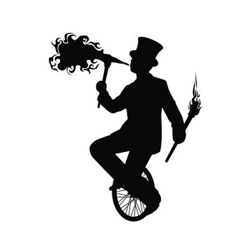 Magician on unicycle silhouette vector