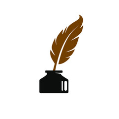 Feather quill pen logo with inkpot icon, classic stationery illustration