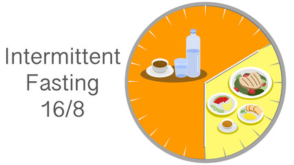Intermittent fasting concept : IF 16 hours of fasting with 8 hours for eating, Loosing weight and healthy eating habit for productiveness. Vector illustration and flat design