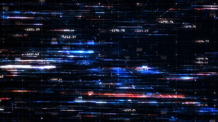 Digital cyberspace and Digital data network connections, Technology abstract background Fotobehang