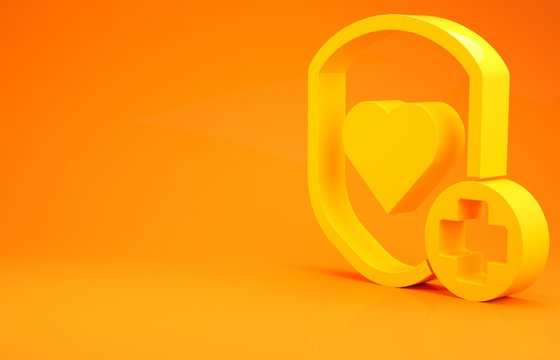 Yellow Shield and heart rate icon isolated on orange background. Health protection concept. Health care. Minimalism concept. 3d illustration 3D render