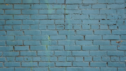 Blue old brick wall, background.