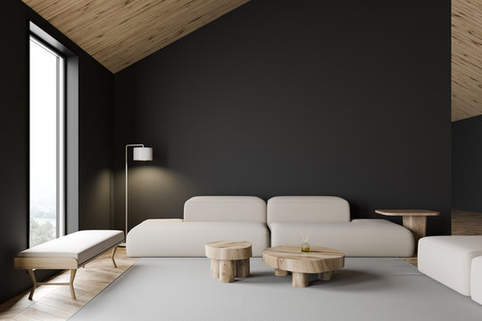 Grey attic living room interior with sofa