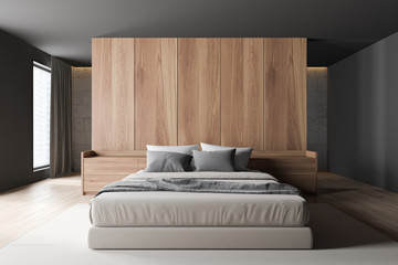 Gray and wooden master bedroom interior