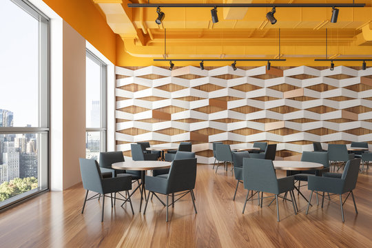 Yellow ceiling geometric pattern cafe interior