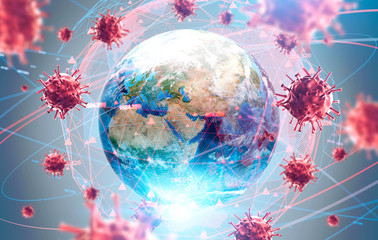 Global virus and disease spread, coronavirus Fotomurales