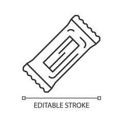 Chocolate bar pixel perfect linear icon. Thin line customizable illustration. Protein snack. Wrapped candy, nourishment. Takeaway food pack. Sugar sachet. Vector isolated drawing. Editable stroke